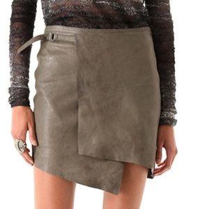 Helmut Lang Supple Leather Overlap Skirt